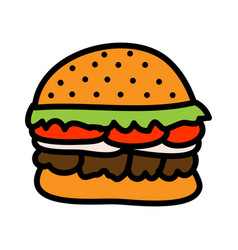 burger concept cartoon flat style vector image