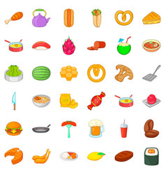 burger icons set cartoon style vector image