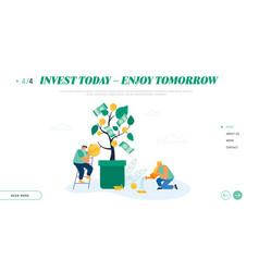 Businesspeople growing money tree creating vector