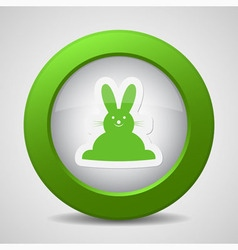 Button with green Easter bunny vector