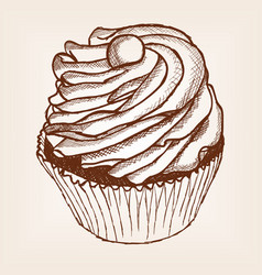 cake sketch style old engraving imitation vector image