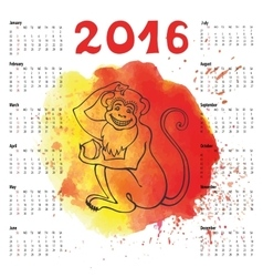 Calendar 2016Chinese zodiac monkeyWatercolor vector image
