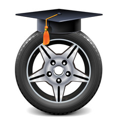 Car wheel with square academic cap vector