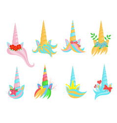cartoon color unicorn tiaras sign icon set vector image