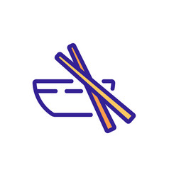 Chopstick and dishware icon outline vector