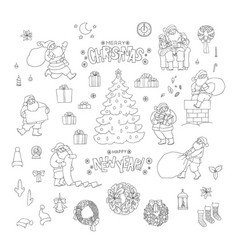 christmas santa claus holiday symbols new vector image
