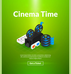 Cinema time poster of isometric color design vector