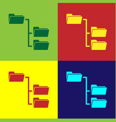 Color folder tree icon isolated on color vector