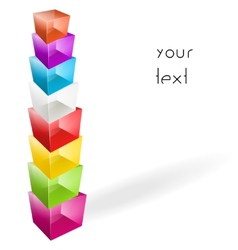 Color glass cubes made a tower vector image