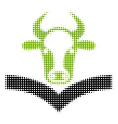 Cow handbook halftone icon vector