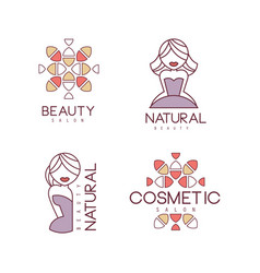 creative geometric logos for beauty salon or vector image