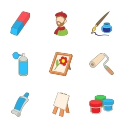 Creativity art icons set cartoon style vector