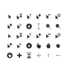 Cursor solid icon set vector
