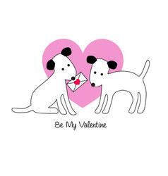 Cute dogs valentine vector