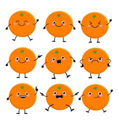cute orange characters set with different emition vector image