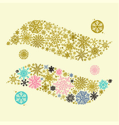 decorative ornament of hand drawn snowflakes vector image