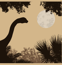 Dinosaur silhouette on beautiful forest vector