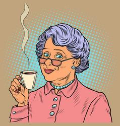 Elderly woman drinking coffee vector