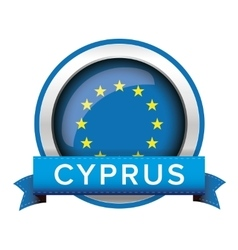 Eu flag button with cyprus ribbon vector