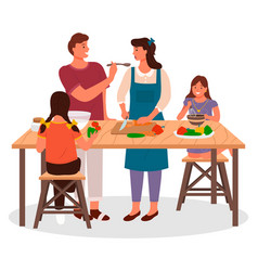 Family cooking in kitchen children and parents vector