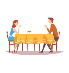 family couple sitting at kitchen table drinking vector image