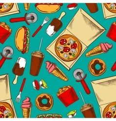 Fast food retro seamless pattern vector