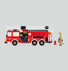 Fire truck and firefighters vector