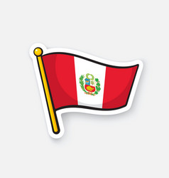 flag peru with coat arms on flagstaff vector image
