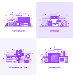 Flat line purple designed concepts 3 vector