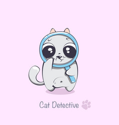 funny cartoon detective cat printing on a vector image