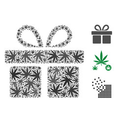 Gift collage of hemp leaves vector
