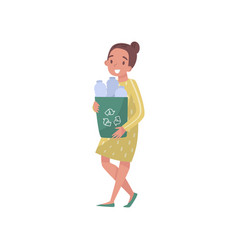 girl collecting plastic bottles eco friendly vector image