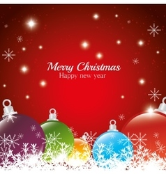 greeting merry christmas happy new year balls vector image