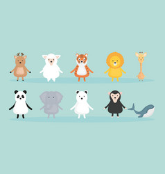 group cute animals characters vector image