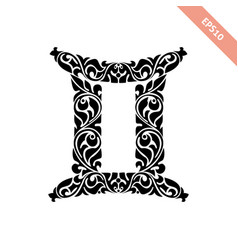 hand drawn black ornate horoscope symbol - gemini vector image