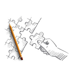 Hand drawn human arm completing puzzle vector
