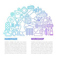 handmade workshop line template vector image