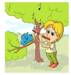 Happy boy playing on flute a glade vector