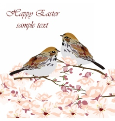 Happy Easter Card with birds and spring flowers vector