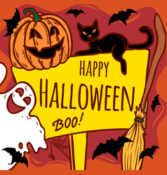 happy halloween concept background hand drawn vector image