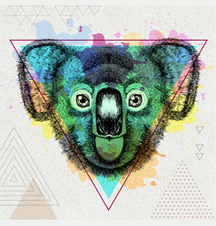Hipster animal koala on artistic polygon vector