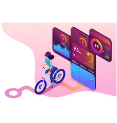 isometric concept young girl on bike a mobile vector image