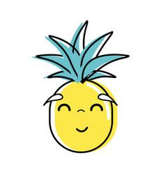 Kawaii cute happy pineapple vegetable vector