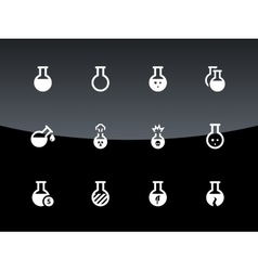 Laboratory bulb icons on black background vector image