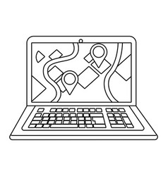 Laptop showing map in black and white vector