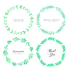 leaves watercolor circle frame vector image