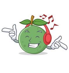 Listening music guava mascot cartoon style vector