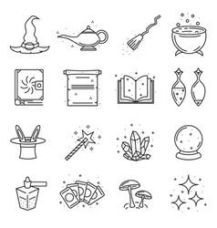 magic signs black thin line icon set vector image