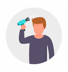 Man use hair dryer concept background flat style vector