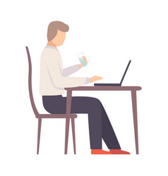 man works on a laptop at table vector image